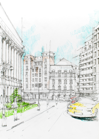 pencil drawings: drawing of a broad view from a city with a yellow car on the street
