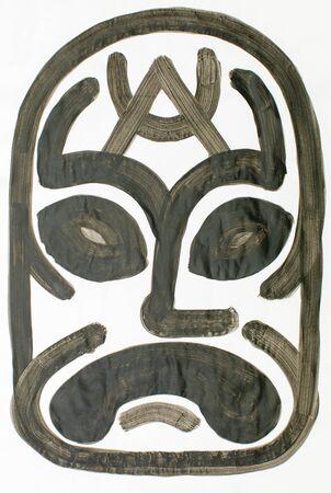 the human face: water colour mask illustration representing sad  human face