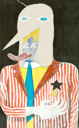 double bad: illustration of a human being dressed as circus show or carnival standing for humour