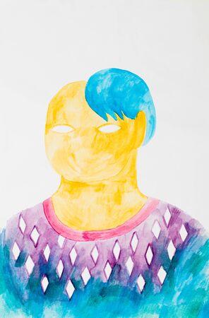 silhouette femme: peinture abstraite de couleur de l'eau, figure féminine sans yeux et cheveux bleus
