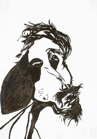 thin man: caricatura, hombre delgado pintado en acuarela, imagen aterradora de ser