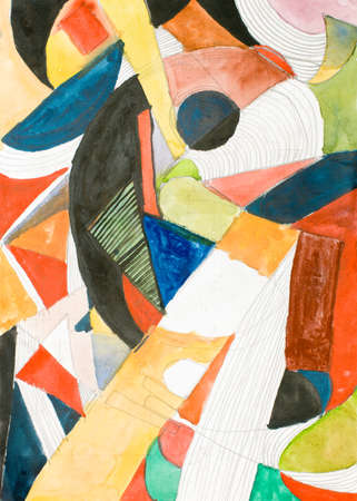 irregular shapes: illustration painting with irregular coloured shapes in watercolour Stock Photo