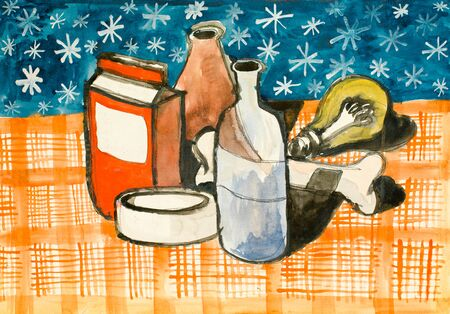 colour pencil: water colour illustration with home staff all being on a table with orange cloth