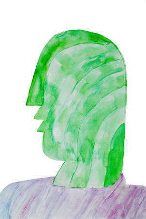 brushwork: abstract painting in green and lavender colour in watercolour Stock Photo