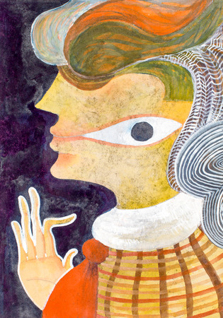 pineal: female face painting in watercolour, symbolic meaning, no physical eyes, but the third eye plain in the cheek