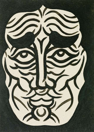 paper art projects: water colour mask illustration showing a human face expression