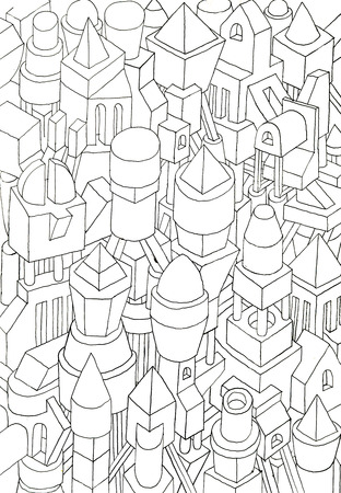 the spectre: geometric forms drawn in pencil, ink on cartoon, jam of forms and meanings in a city Stock Photo