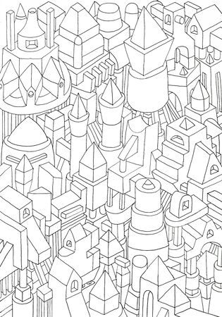 paper forms: geometric forms drawn in pencil or ink on cartoon or paper, jam of forms and meanings in a city Stock Photo