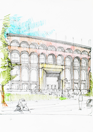 pale colours: drawingpainting of an imposing  hallbuilding in the city
