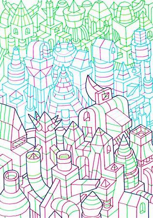 bulding: sketches of crowded constructions, hand drawn of a city