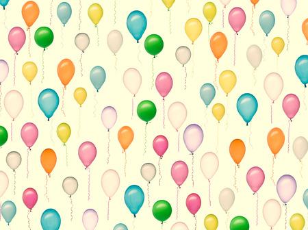 Retro pastel verpakkingspapier met een gerangschikt patroon gemaakt van kleurrijke luchtballonnen op een witte achtergrond