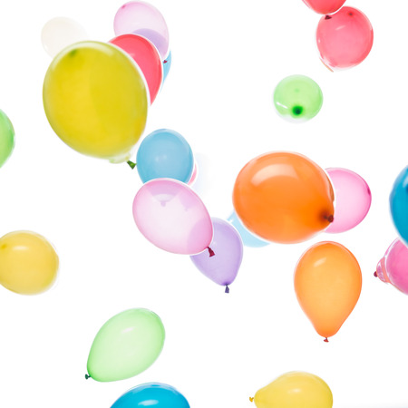 square image: square image white background many colourful balloons Stock Photo