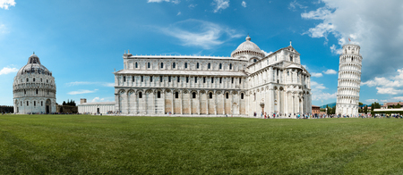 Pisa, Italy - January 29, 2013: Cathedral and leaning tower in Piazza dei Miracoli (Square of Miracles) in Pisa, Tuscany, Italy.