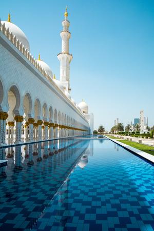 Abu Dhabi, United Arab Emirates - April 12, 2015: Part of the Sheikh Zayed Grand Mosque in Abu Dhabi, UAE. Editorial