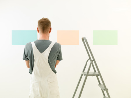 Rear view of a man choosing colour for painting a room against white background Stock Photo