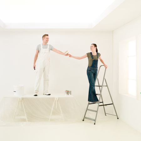homeoffice: home improvement concept working together for a better home-office Stock Photo