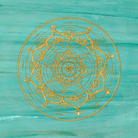 Golden mandala on turquoise background Stock Photo