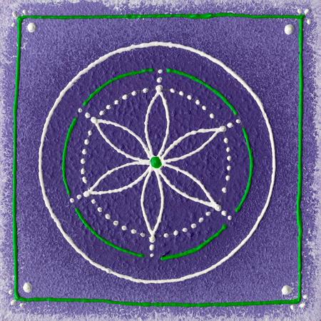 Handgeschilderd zaad van het leven met groene withe en paarse kleuren.