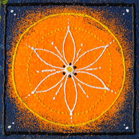 Mooi oranje blauw zaad van levensmandala