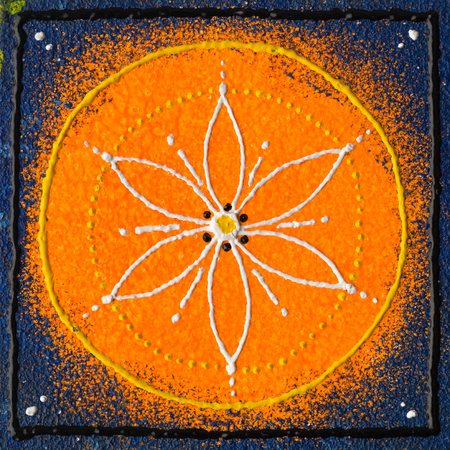 Beautiful orange blue seed of life mandala