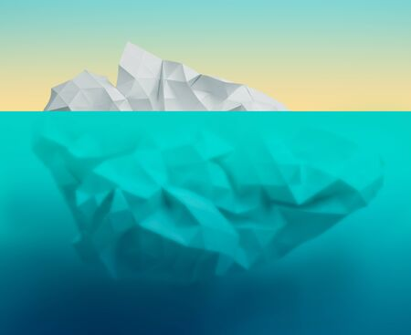 crystallization: iceberg underwater global warming concept made from paper poly