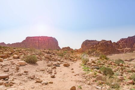 Panoramic view of the Rose City of Petra from the high tombs