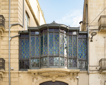 French balcony colored glass