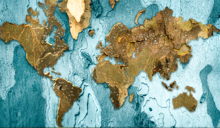 World map made from tree bark collage
