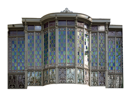 French balcony colored glass isolated