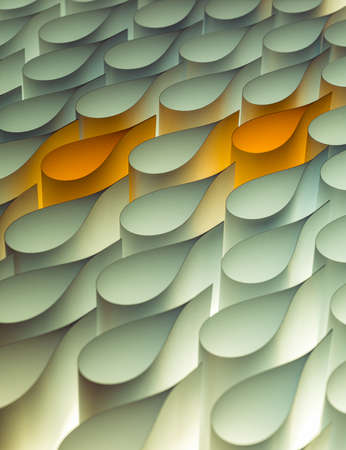 Abstract conceptual background consisting of white paper drops that two yellow