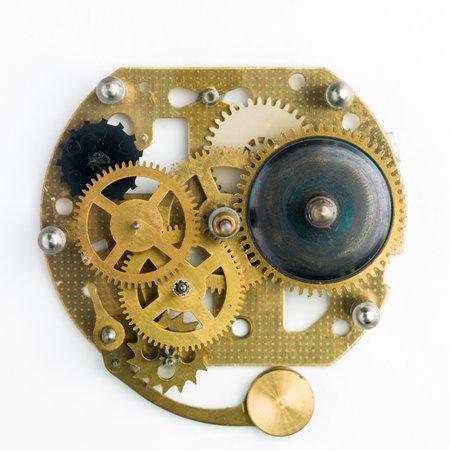Close up view of brass gears from old mechanism Standard-Bild