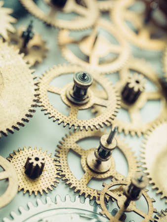 Gears and cogs from vintage mechanism close-up