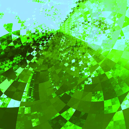 Artistic Fractal Abstract Green Blue Crystal Distortions Stock Photo