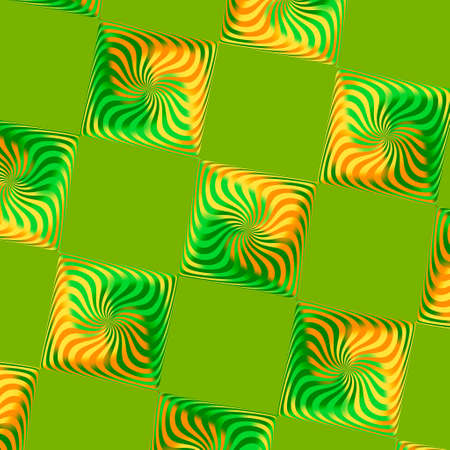 Green Skewed Spinning Tiles Illusion Pattern Background Stock Photo