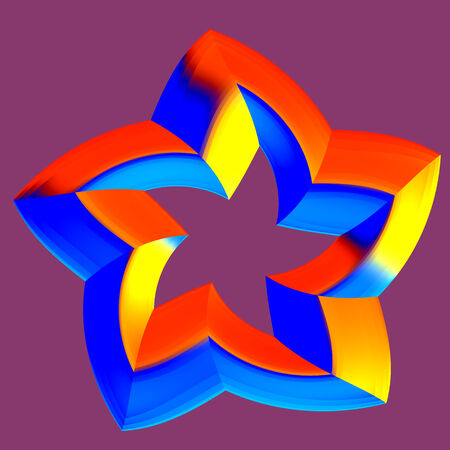 Abstract 3D Red Orange Rating Star with five arms