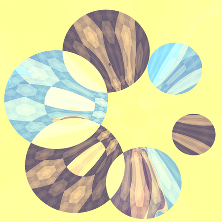 Abstract Artistic Blue Flower Spinner Yellow Background Stock Photo