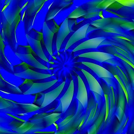 Abstract Blue Sharp Turbine Blades Spiral Illustration Stock Photo