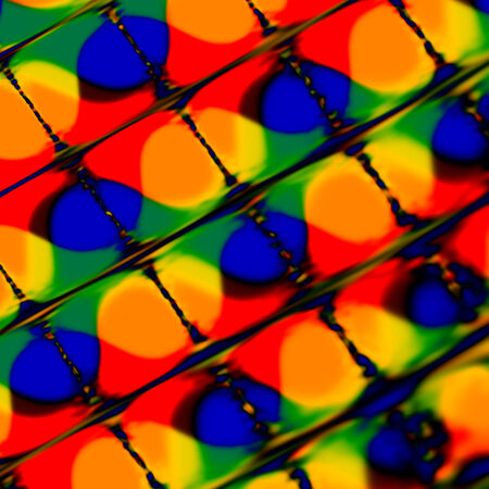 Abstract Colorful Blots under distorted square grid