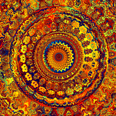Abstract Colorful Rich Detailed Bright Mandala Art Stock Photo