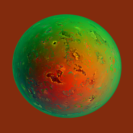Abstract Round Planet with Fractal Based Surface Stock Photo