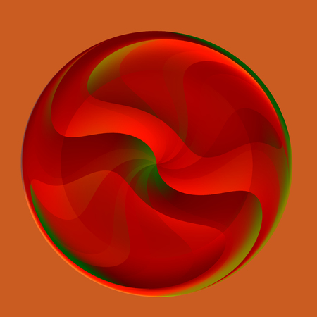 Decorative Abstract Red Glass Round Glossy Marble Stock Photo