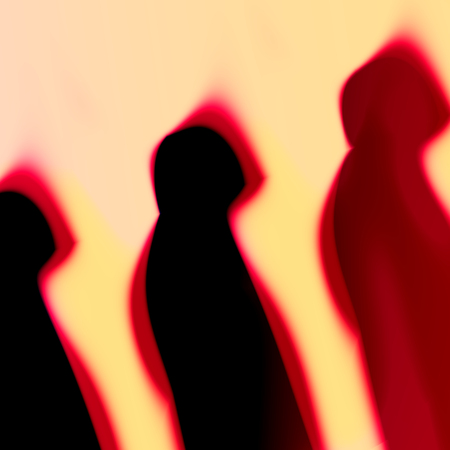Abstract Silhouettes of three people in a row