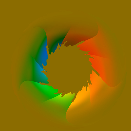 Bizarr Colorful Bullet Hole through Flat Surface Stock Photo