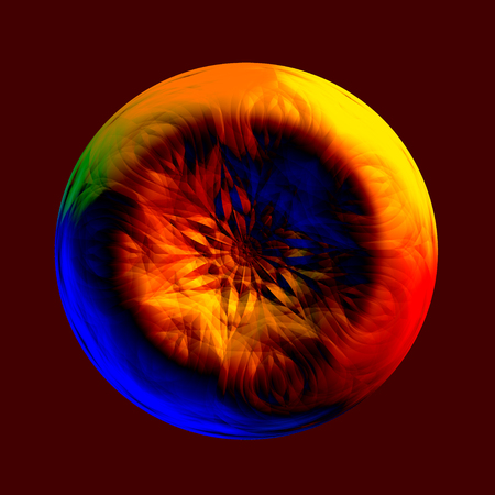strangeness: Abstract Colorful Strange Iris or Button Shape