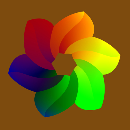 Abstract Colorful Raninbowy Flower with 6 Petals photo
