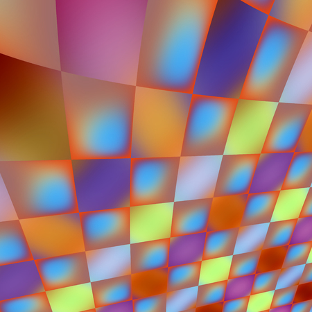 Abstract 3D Perspective Iridescent Curved Beautiful Tiles Stock Photo