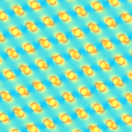 Abstract Funny Yellow Bubbles Pattern on Blue Backgound Stock Photo