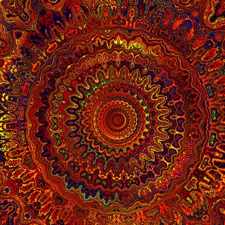 Abstract Warm Digital Colorful Indian Detailed Mandala