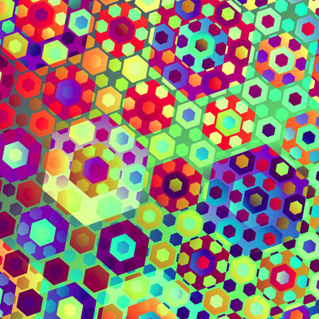 Colorful Abstract Artistic Sweets Overlaying Hexagons Pattern Stock Photo