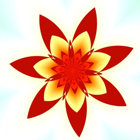 Abstract Red Fractal Flower - White Background - Seven Petals photo